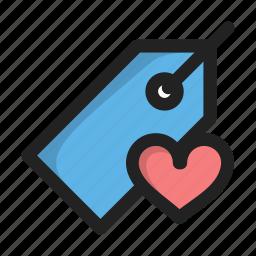 fav, favorite, heart, love, price, tag icon