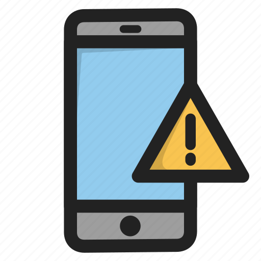 error, mobile, phone, smartphone, telephone, warning icon