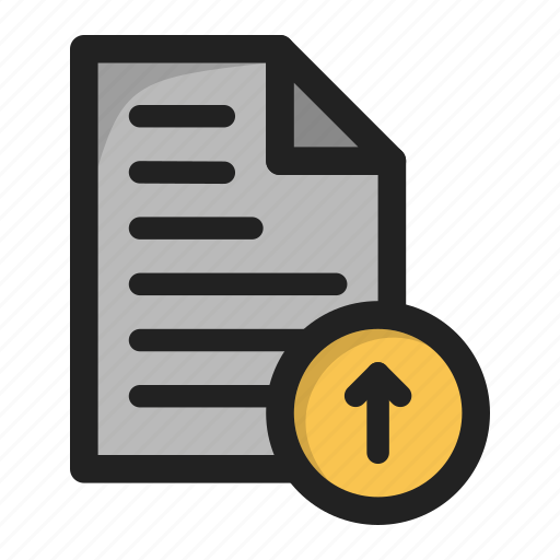 arrow, document, file, paper, up, update, upload icon