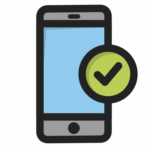 accept, mobile, phone, smartphone, telephone, tick, yes icon