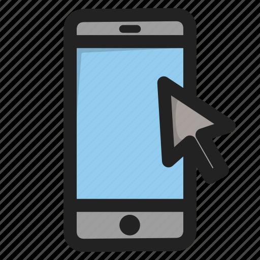 clock, cursor, mobile, phone, smartphone, telephone icon