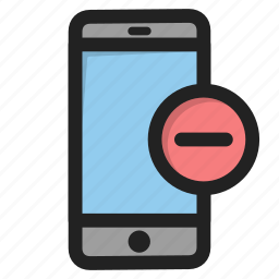 delete, minus, mobile, phone, smartphone, telephone icon