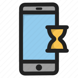 clock, mobile, phone, smartphone, telephone, time, wait icon