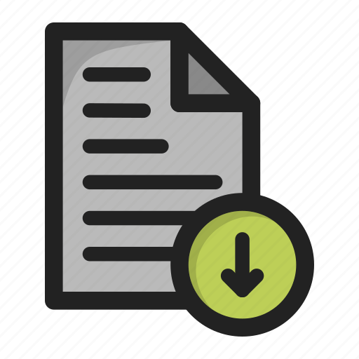 arrow, document, down, download, downloads, file, paper icon