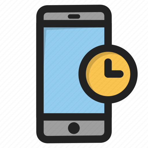 clock, mobile, phone, smartphone, telephome, time, wait icon