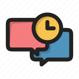 chat, clock, dialog, forum, message, time, wait icon