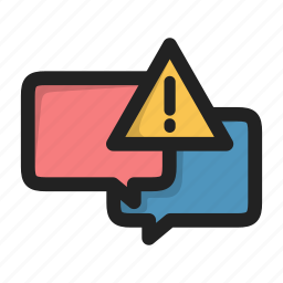 chat, dialog, error, forum, message, sms, warning icon