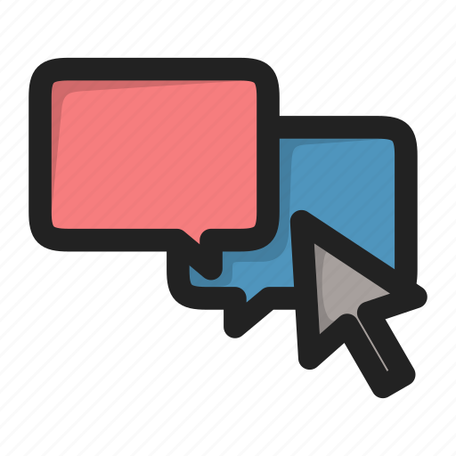 chat, click, cursor, dialog, forum, message icon