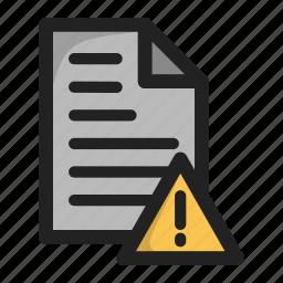 document, error, file, paper, warnign icon