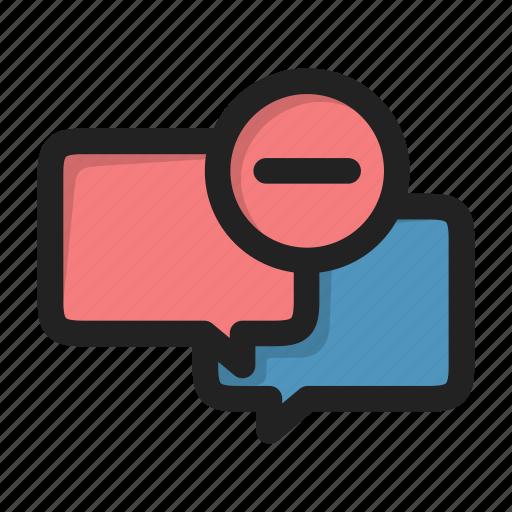 chat, delete, dialog, forum, message, minus icon