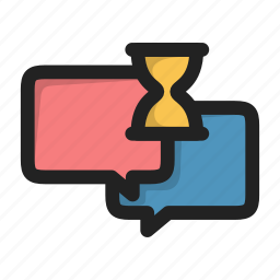 chat, clock, dialog, message, sms, time, wait icon