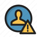 login, profile, sign, user, warning icon