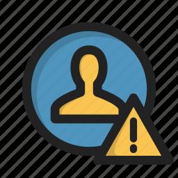 login, profile, sign, user, warning icon