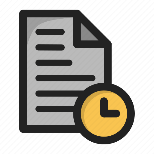 clock, document, file, paper, time, wait icon