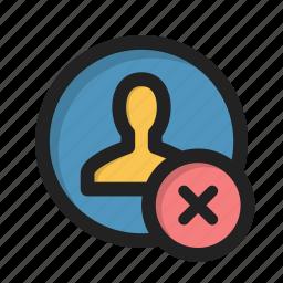 close, cross, delete, error, person, profile, user icon