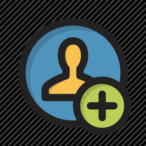 add, appearance, individual, person, plus, profile, user icon