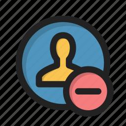 appearance, individual, minus, person, profile, user icon