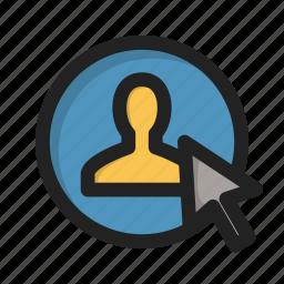 click, cursor, individual, person, profile, sign, user icon