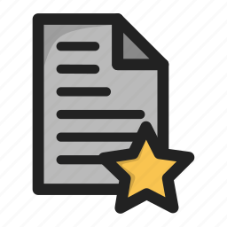 document, fav, favorite, file, paper, star icon