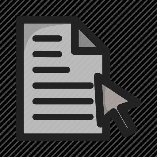 click, document, file, hover, paper icon