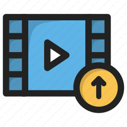 arrow, movie, play, up, upload, video icon