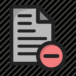 delete, document, file, hide, minus, paper icon