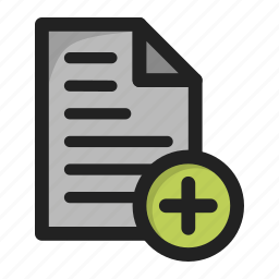 add, create, document, file, new, paper, plus icon