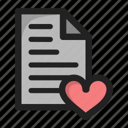 document, fav, favorite, file, heart, paper icon
