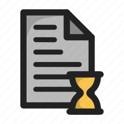 clock, document, file, paper, text, time, wait icon