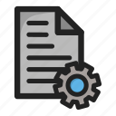 document, file, paper, setting, settings, text, tools icon