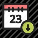 arrow, calendar, data, day, down, download