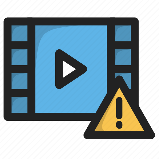 error, movie, play, video, warning icon