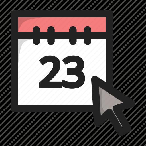 calend, calendar, click, cursor, day, hover icon
