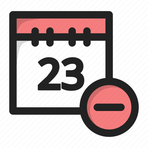 calendar, date, day, delete, hide, minus icon