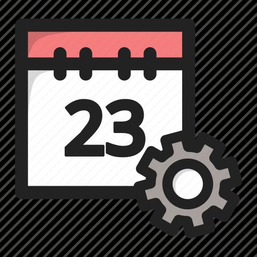 calend, calendar, data, edit, setting, settings, tools icon
