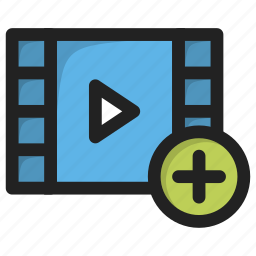 add, movie, new, play, player, plus, video icon