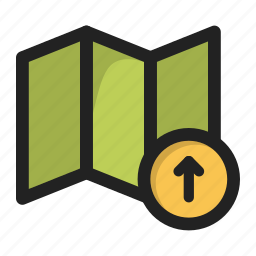 arrow, gps, location, map, navigator, up, upload icon