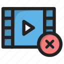 close, cross, delete, movie, play, video icon