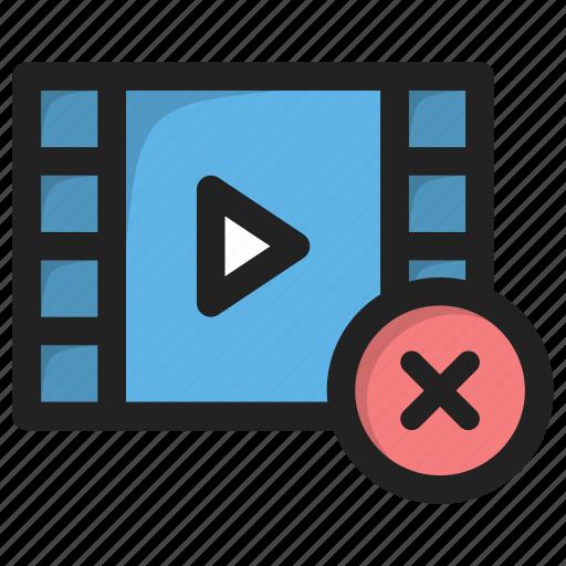 close, cross, delete, movie, play, video icon