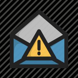 envelope, error, letter, mail, spam, warnign icon