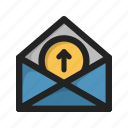 arrow, attachment, envelope, letter, mail, up, upload icon