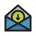 attachment, download, downloads, envelope, letter, mail icon