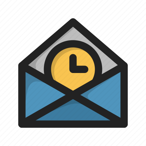 clock, envelope, letter, mail, time, wait icon