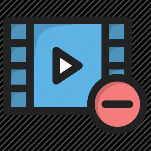delete, minus, movie, play, video icon