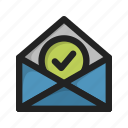 accept, envelope, letter, mail, tick icon