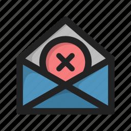 close, cross, delete, envelope, letter, mail icon