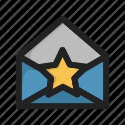 envelope, favorite, letter, mail, star icon