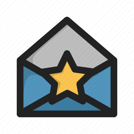 envelope, favorite, letter, mail, star icon
