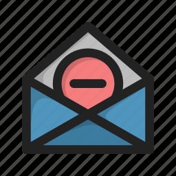 delete, envelope, hover, letter, mail, minus icon
