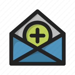 add, envelope, letter, mail, new, plus icon